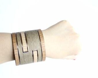 SALE | Vintage Wide Cuff Bracelet | Modernist Wood Grain Cuff Bracelet | Bronze Metal Cuff