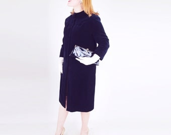 60s Black Velvet Coat with Removable Collar M