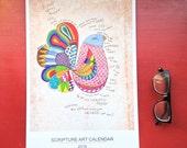 2016 Large Wall Calendar, Hand Lettered Scripture Art, Desk Calendar, Planner, 11x17 Poster Size