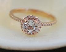 White sapphire ring. Rose gold engagement ring. Diamond halo ring. 1.21ct round white sapphire ring by Eidelprecious.