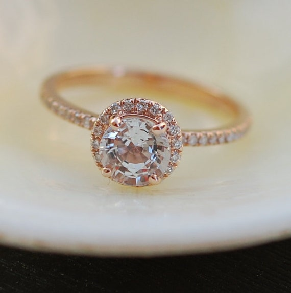 White sapphire ring. Rose gold engagement ring