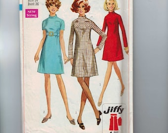 1960s Vintage Sewing Pattern Simplicity 7755 Misses A Line Mini Dress High Waist Belted Jiffy Easy Size 14 Bust 36 60s 1968