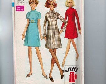 1960s Vintage Sewing Pattern Simplicity 7755 Misses A Line Mini Dress High Waist Belted Jiffy Easy Size 14 Bust 36 60s 1968  99