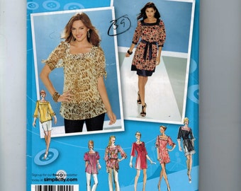 Misses Sewing Pattern Simplicity 3535 Misses Top Skirt Sqaure Neck Dress Tunic Project Runway Size 14 16 18 20 22 Bust 36 38 40 42 44 UN  99