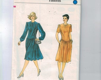 1980s Misses Sewing Pattern Vogue 8391 Misses Dress with Gathered Waist Size 6 8 10 Waist 23 24 25 80s UNCUT  99