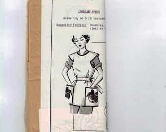 1950s Vintage Sewing Pattern Mail Order 5298 Misses Cobblers Apron Pocket Applique Size 14 16 18 Bust 32 34 36 UNCUT