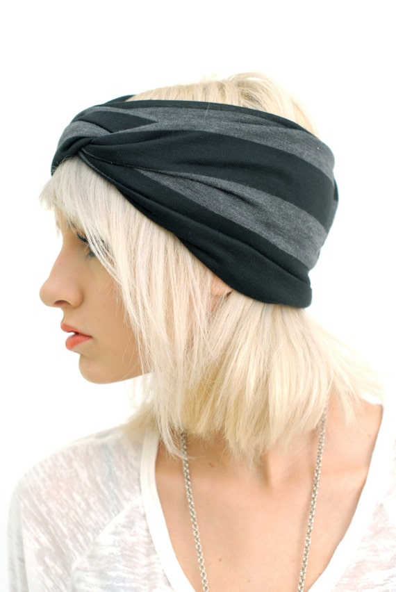 Babooshka Modern Turban Headband Hair Accessory Turband Black on Gray Stripes Neutral Basic Color Printed Soft Premium Knit Jersey Fabric