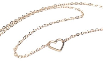 Gold Heart Necklace by Sarah Cecelia Jewelry, Gold Heart Jewelry