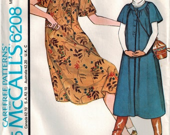 Vintage Pullover Dress or Jumper Pattern 1978 McCall's 6208 Bust 36 38 Size Large Short Raglan Sleeves Gathered Neckband Loose Fitting Dress