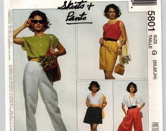 90s Misses Summer Skirt Split Skirt Two Lengths Pants Vintage Sewing Pattern Plus Sizes 20-24 Straight Skirt Wide Leg Culottes Tapered Pants