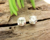 Warm White Sapphire Earrings in Gold, Silver, or Platinum with Genuine Gems, 4mm - Free Gift Wrapping