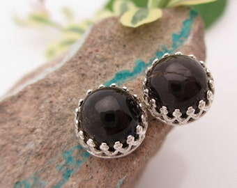 Tourmaline Stud Earrings, Dark Chocolate Brown Cabochon Earrings in Silver, 8mm