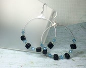 Football Team Colors Gemstone Hoop Earrings - Light Blue and Black