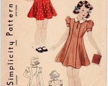 """Vintage Sewing Pattern 1930's Girls' Dress Simplicity 2578 Size 8 26"""" Bust - Free Pattern Grading E-book Included"""