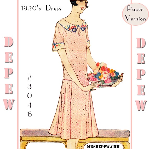 1930s Fashion Colors, Clothing & Fabric MultiSize Vintage Sewing Pattern Reproduction  Ladies 1920s Short Sleeve Dress #3046 -PAPER VERSION $23.50 AT vintagedancer.com