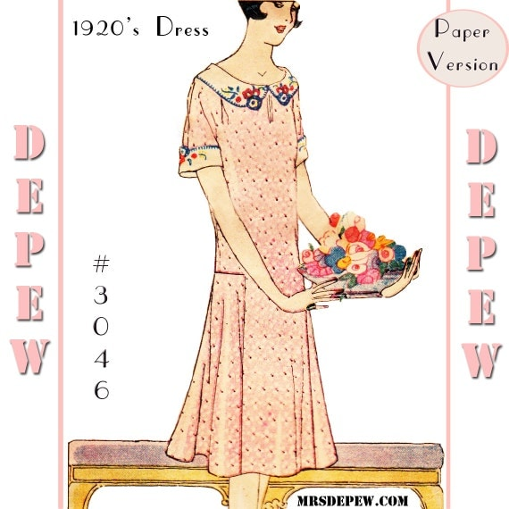 1930s Dresses, Clothing & Patterns Links MultiSize Vintage Sewing Pattern Reproduction  Ladies 1920s Short Sleeve Dress #3046 -PAPER VERSION $23.50 AT vintagedancer.com