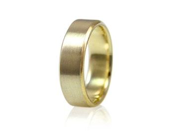 Mens Beveled Wedding Band, 6mm Wide Brushed Wedding Ring in Recycled 10k or 14k Yellow Gold, 14k White Gold or Palladium, Size 10 Ring