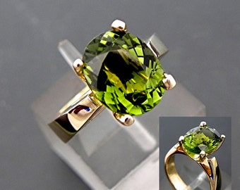 AAAA Green Tourmaline   10x8mm  2.62 Carats   in a 14K Yellow Gold Cathedral Engagement Ring 2151 MMM