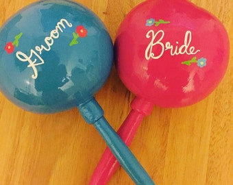 Maracas (1 pair) Bride and Groom Personalized Maracas - hand painted and custom with your names and wedding date