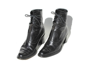 Size 6.5 Italian Black Leather Chunk Heel Ankle boots