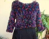 90s club kid rainbow fuzzy crop sweater / soft & squishy vintage cropped boxy sweater