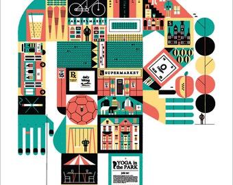 """Better Cities Through Design 24x36"""" Silkscreened Art Print by Raymond Biesinger"""