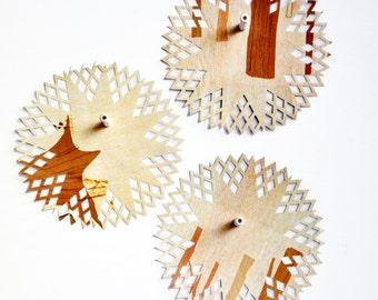 Fun Woodsy Paper Pattern Doilies {6.0in} OOAK Embellishments | Scrapbooking | DIY Wrap Supplies | Forest Tan Gift Wrap