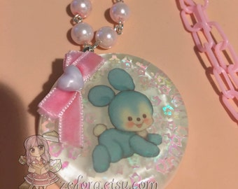 Vintage Baby Bunny Rabbit Round Resin Pendant Bow Baby Pink Beaded Necklace