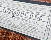 Vintage Wedding Invitation Ticket / DIY Printable PDFs