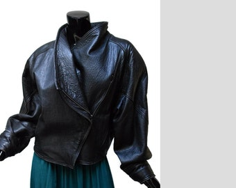 New Wave 80s Black Leather Jacket Sz M Michael Joseph USA Made