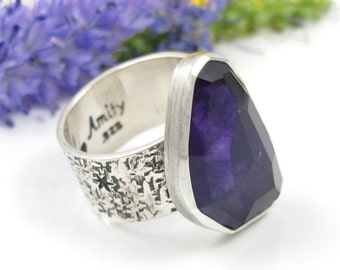 Amethyst ring - Sterling Silver Faceted Amethyst Ring - US size 6 1/4 - chunky amethyst ring - faceted amethyst ring with stars - size 6.25