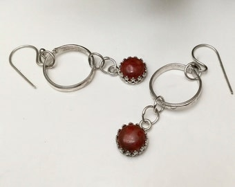 Sponge Coral Hoop Dangle Earrings