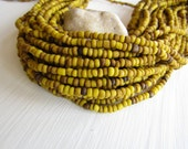 yellow seed beads, opaque  yellow glass beads, gritty organic barrel rondelle Indonesian  bead - 1.5  to 4mm /  44 inch - 6bb5-8