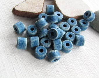 Blue barrel ceramic beads, multi tone , matte opaque  rondelle beads , made in europe  8mm x 5mm ( 12 beads ) 6ass6-5