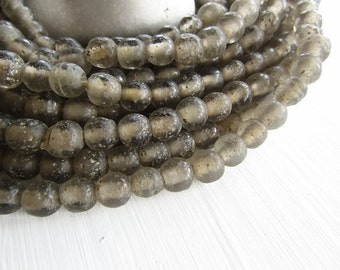 Round grey glass beads,  rustic grey  lampwork beads, translucent gritty textured aged look  indonesian 8mm - 9mm (16 beads)  6bb27-6