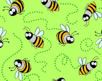 Bees Green Garden Critters Blank Quilting Fabric 1 yard
