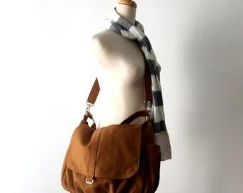 Water resistant messenger diaper bag,Gift for her Cross body Bag,Travel bag for women,Honey Brown canvas Bag- New Year Sale 30%/DANIEL