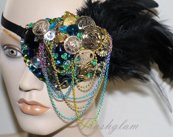 Over the top Vintage bling treasures Rhinestones feather eye Patch mermaid glamour High fashion fancy dress