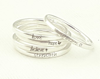 Inspirational Jewelry  - Personalized Graduation Jewelry - Silver Stacking Rings - Personalized Ring