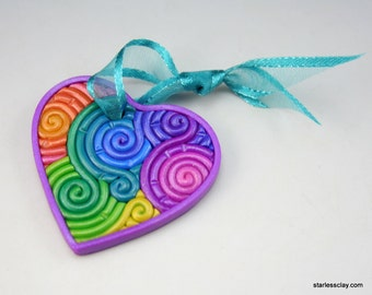 Heart Ornament in Pastel Rainbow Polymer Clay Filigree (Mini)