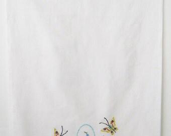Vintage Single Butterfly Pillowcase • Hand Embroidered White Pillowcase • Single Vintage Floral Pillowcase Aqua Peach