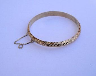 Gold Vermeil Sterling 925 Diamond cut Bangle Bracelet