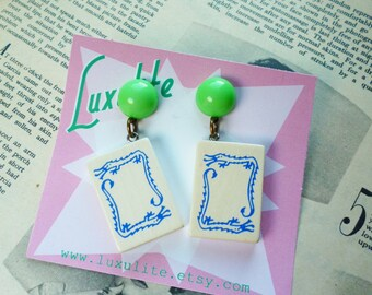 Vintage Mah Jong tiles 1940s style handmade vintage inspired earrings by Luxulite