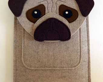 Pug iPad Pro 12.9 and 9.7 inch case // Felt bag