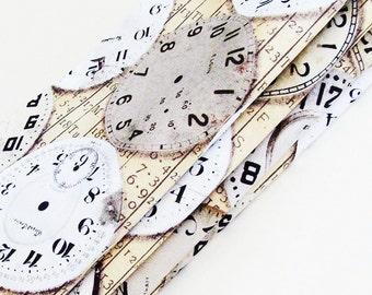 Neo-Victorian Steampunk Timepieces Cotton Napkins / Set of 4 / Browns, Gray, Black & White Clock Faces / Unique Eco-Friendly Gift Under 50