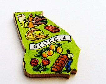 1960s Georgia Brooch - Pin / Unique Wearable History Gift Idea / Upcycled Vintage Hand Cut Wood Jewelry / Timeless Gift Under 25