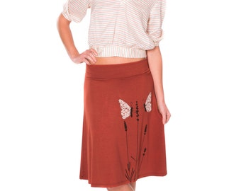 Lovely Design Skirt for Women, Plus size skirts with butterfly, Pull on lace applique skirt, Orange jersey skirt - Butterfly's office affair