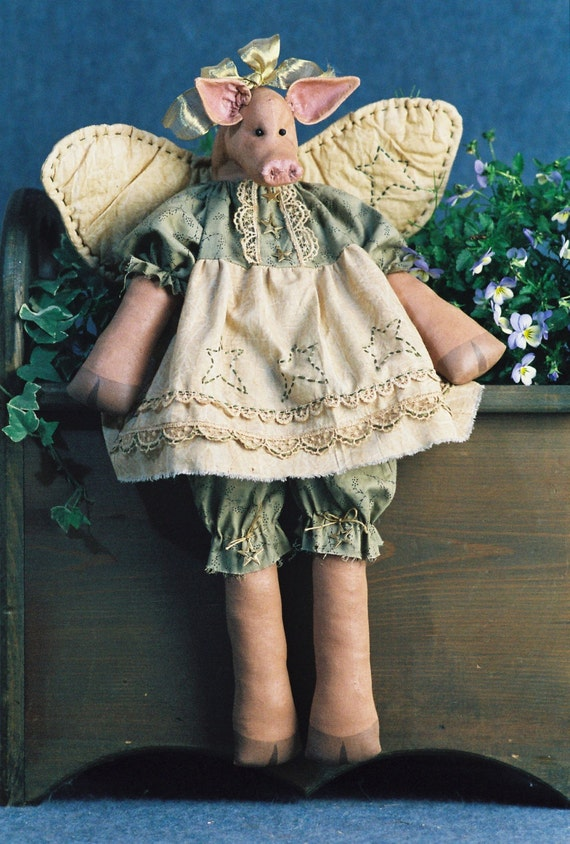 Mailed Cloth Doll Pattern - 20in Winged Country Girl Pig