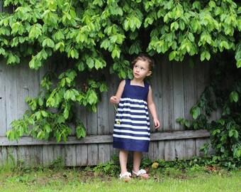 Navy Blue Striped Dress, Reverse Knot Dress, Navy Blue Nautical Dress