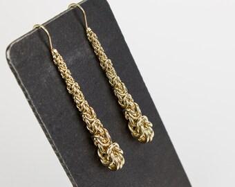 Long Gold Teardrop Earrings, Yellow Gold Filled Dangle Earrings, Byzantine Chainmaille Drop, Elegant Bride Bridesmaid Wedding Jewelry